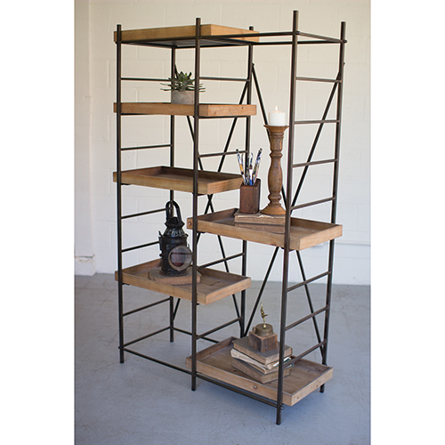 Iron Shelving Unit with Six Adjustable Wooden Shelves