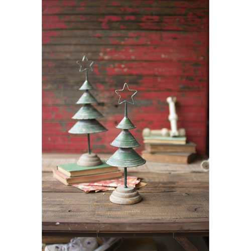 Distressed Green Christmas Trees, Set of Two