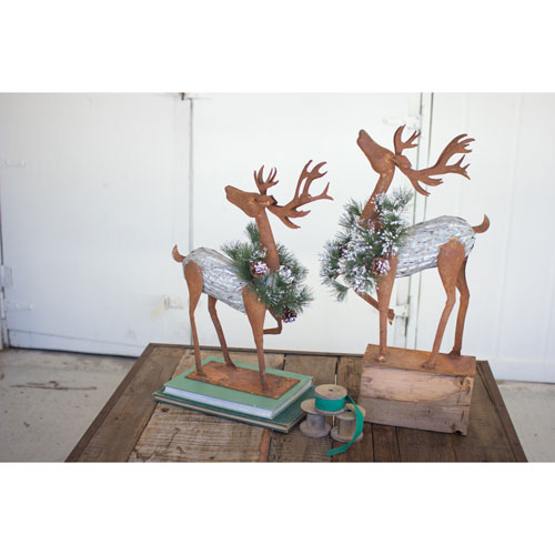 Kalalou Rustic Galvinized Reindeer with Faux Pine Wreaths, Set of Two