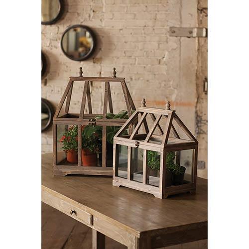 Kalalou Wood and Glass Terrarium, Set of 2