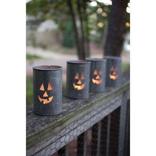 Tin Luminary-Jack-O-Lantern, Set of Four