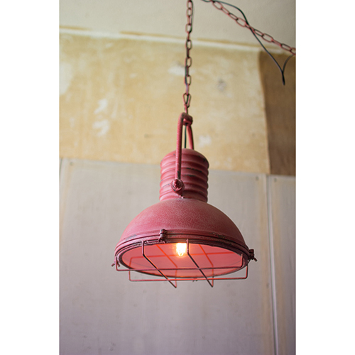Antique Red One-Light Pendant with Glass and Wire Cage
