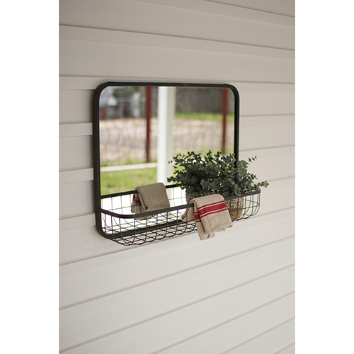 Rectangular Mirror with Rubbed Brass Wire Basket Shelf