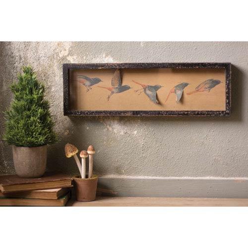 Framed Paper Flying Birds Under Glass