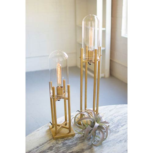 Small Glass Dome Gold Table Lamps