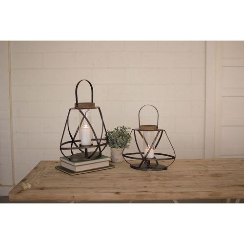 Metal Straps and Glass Lanterns, Set of Two