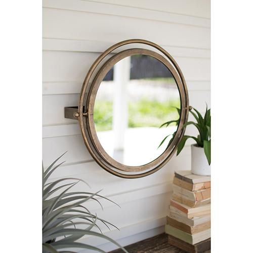 Gold Round Wall Mirror with Adjustable Bracket