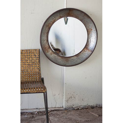 Rustic Large Round Metal Mirror