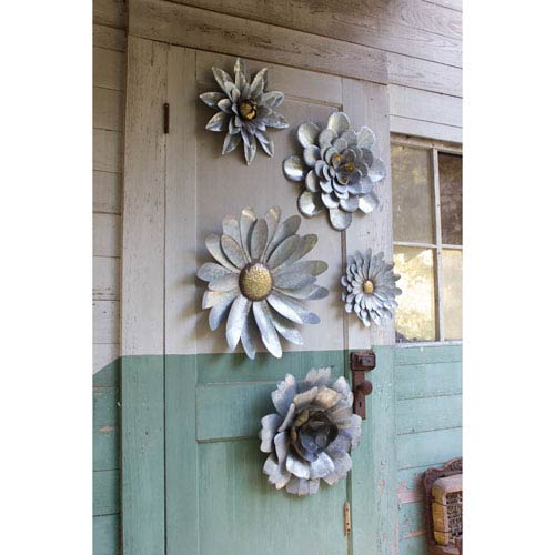Galvanized Metal Flower Wall Hangings, Set of Five