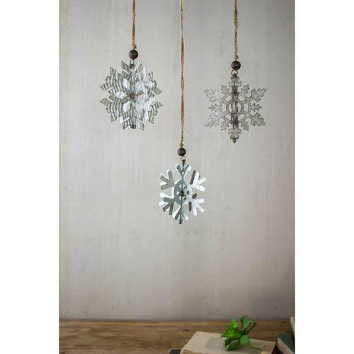 Galvanized Snowflake Ornaments, Set of Three