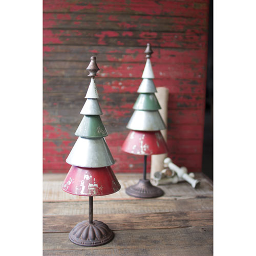 Galvanized Red and Green Metal Trees, Set of Two