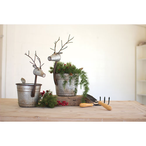 Metal Deer Planters, Set of Two