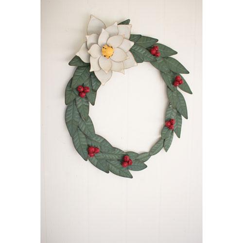 Painted Metal Magnolia Wreath