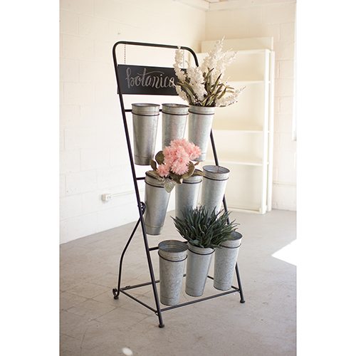Flower Rack With Nine Galvanized Buckets