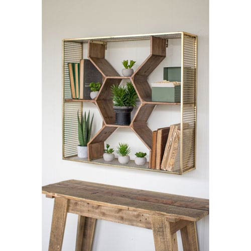 Wooden Honey Comb Shelf with Metal Mesh Fame