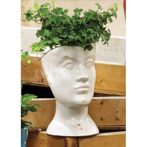 Kalalou White Ceramic Head Planter