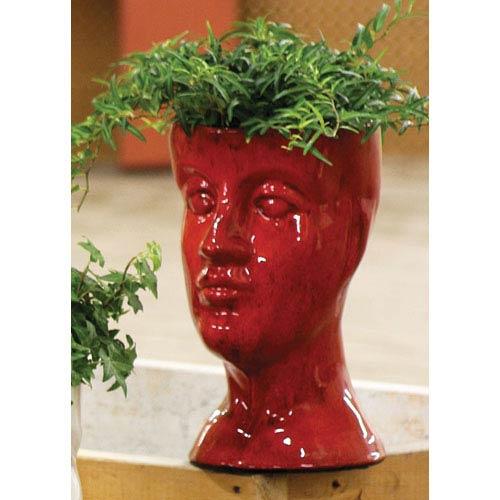 Red Ceramic Head Planter