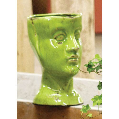 Green Ceramic Head Planter