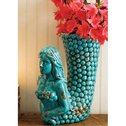 Kalalou Turquoise Ceramic Mermaid Vase