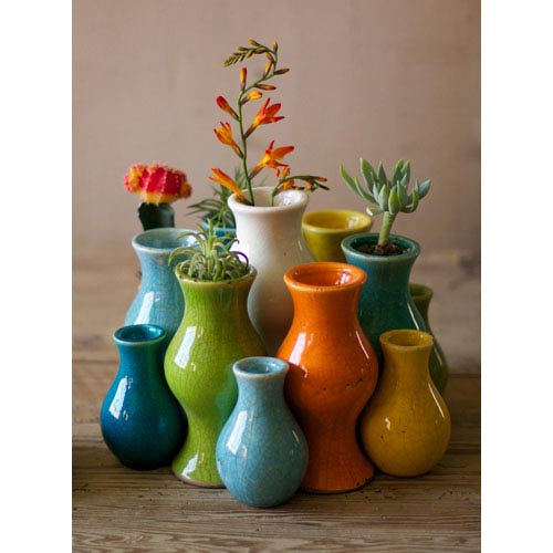 Multi-Colored Ceramic Vases, Set of 13