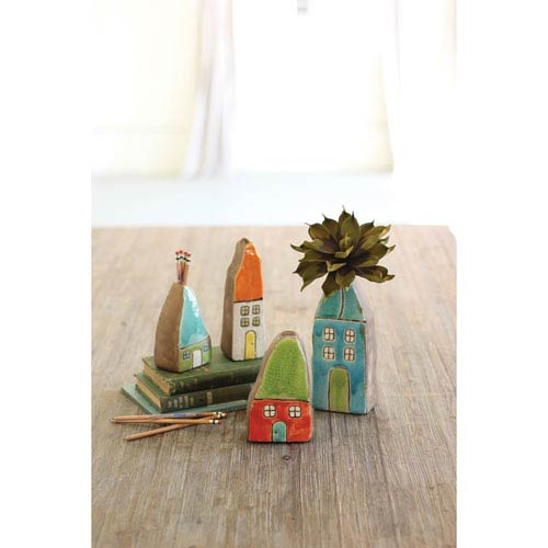 Colorful House Bud Vases, Set of Four