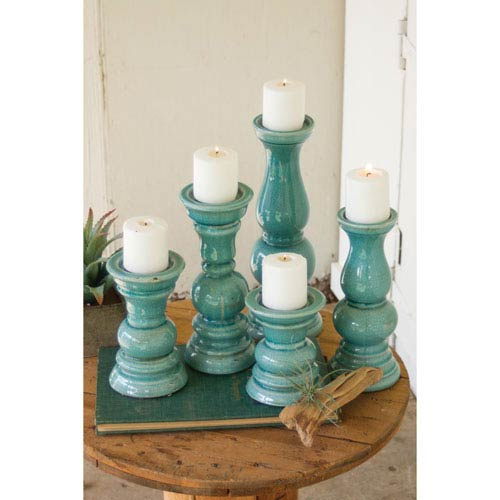 Kalalou Turquoise Ceramic Candle Holders, Set of Five