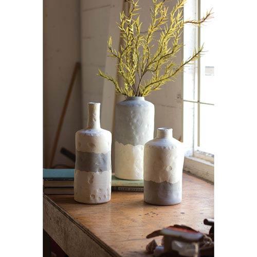 Grey and Craem Ceramic Bottle Vases-Matte, Set of Three