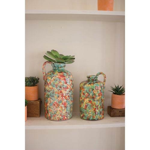 Multicolor Colored Splatter Ceramic Bottles, Set of Two