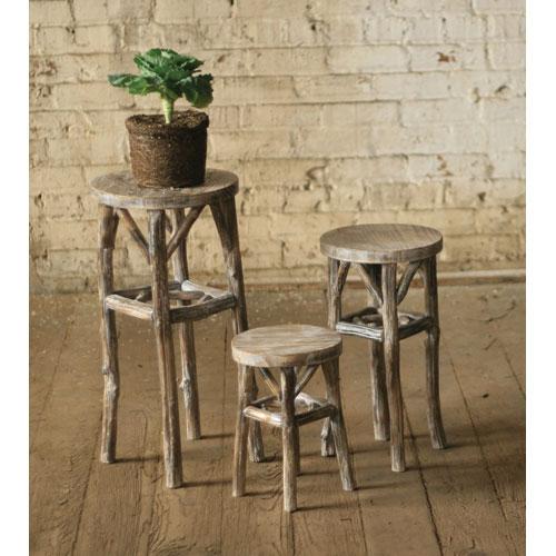 Round Pedestals with Twig Legs, Set of Three