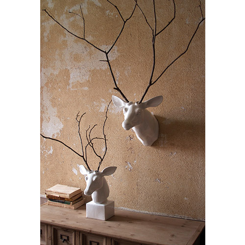 White Ceramic Wall Mounted Deer Head