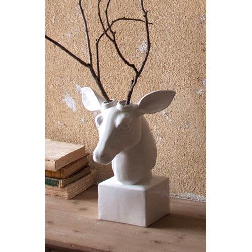 Kalalou White Ceramic Table Top Mounted Deer Head
