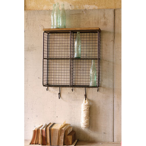 Natural Wire Mesh Four Square Cubbies w/ Raw Wooden Top