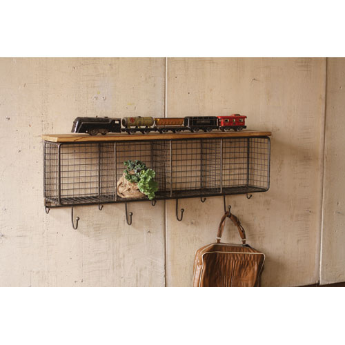 Natural Wire Mesh Four Horizontal Cubbies w/ Raw Wooden Top