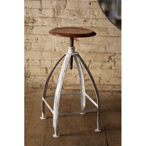 Antique White and Rustic Base Metal Stool with Adjustable Rust-Top Seat