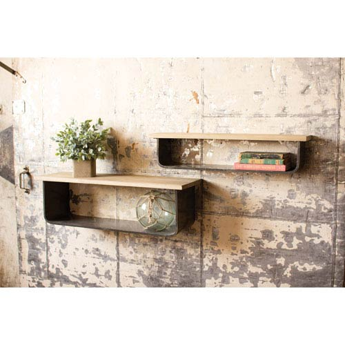 Metal and Wood Wall Shelves, Set of Two