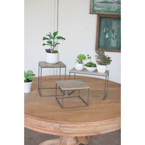 Wood and Metal Table Top Risers, Set of Three