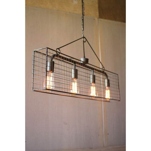 Wire Mesh Horizontal Four-Light Pendant Light