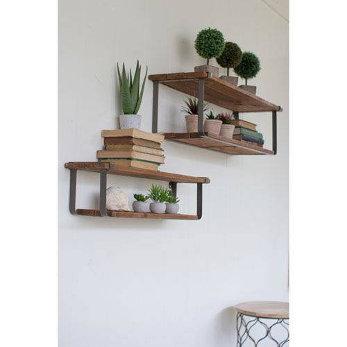 Set of Double Recycled Wood and Metal Shelves