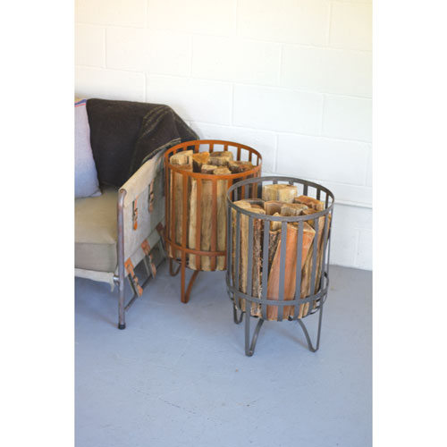 Orange Rustic Metal Log Basket
