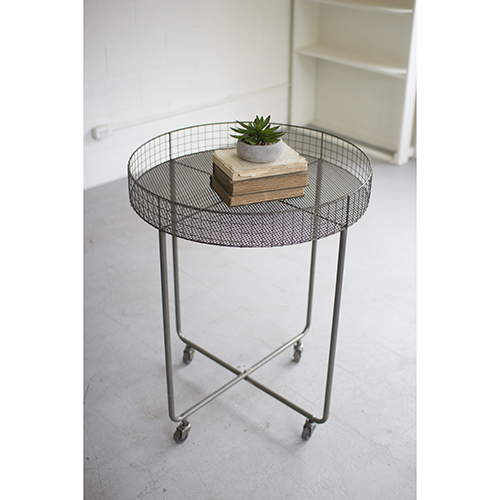 Kalalou Rolling Round Wire Display Table   Tall