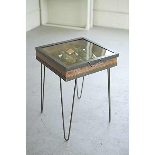 Kalalou Display Table With Hinged Glass Top - Small