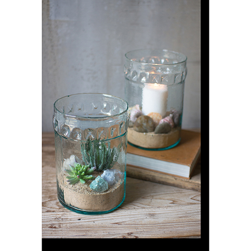 Recycled Glass Vase with Collar Detail