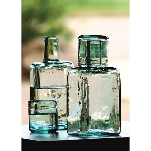 Green Bedside Water Carafe and Drinking Glass, Set of Two