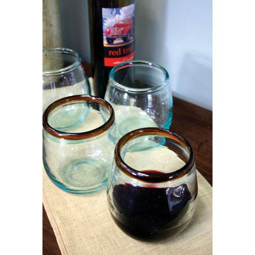 Stemless Wine Glass with Amber Rim, Set of Six