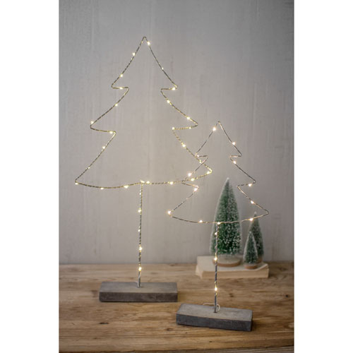 Metal Tree with Led Lights and Cement Base, Set of Two