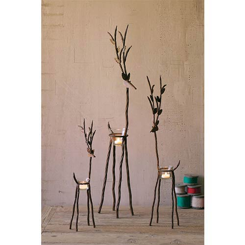 Kalalou Rustic Iron Reindeer Candleholder with One Tealight Holder, Set of 3