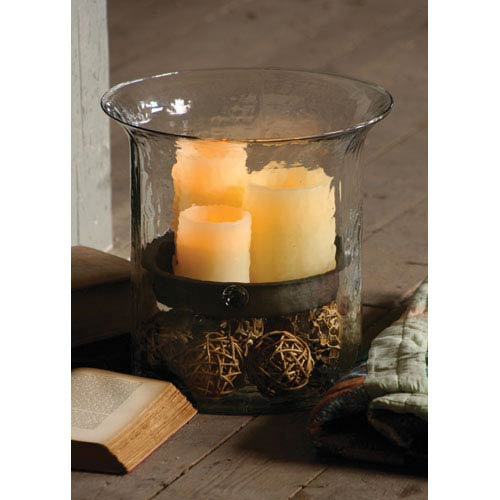 Kalalou Giant Glass Candle Cylinder w/ Metal Insert