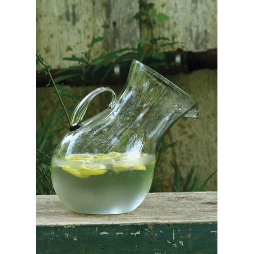 Large Glass Tilted Pitcher Vase