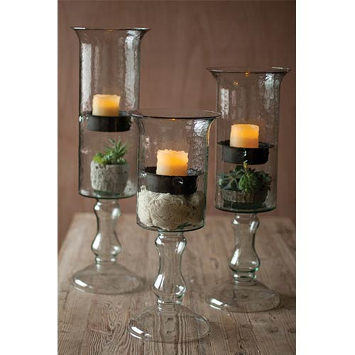 Kalalou Clear Glass Candle Cylinder with Insert on a Glass Pedestal, Large Only