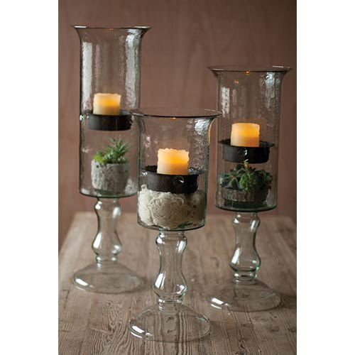 Clear Glass Candle Cylinder with Insert on a Glass Pedestal, Small Only